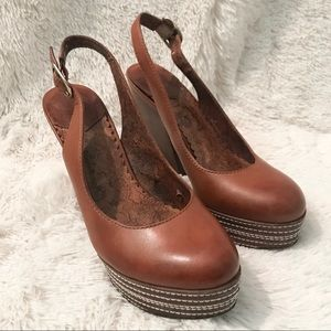 lucky brand leather platform slingback heels